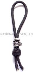 Schmuckatelli Rose Skull Monkey Fist Zipper Pull RMFZPP, Solid Pewter Bead, Black Paracord