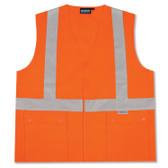 61350 ERB S364 Class 2 Snap Pockets Hi Viz Orange Medium Safety Apparel - Aware Wear & Hi Viz Ts