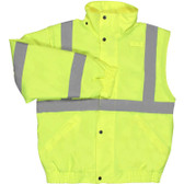 62084 ERB W492 Class 2 Zip-Off Sleeve Bomber Jacket Hi Viz Lime 4X Safety Apparel - Aware Wear Cold Weather Wear