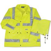 61483 ERB S371 Class 3 Raincoat Hi Viz Lime 2X Safety Apparel - Aware Wear & Hi Viz Ts