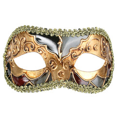 Gold and Deep Red Men's Venetian Carnival Mask