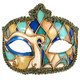 Blue, Green and Gold Venetian Carnival Masquerade Mask - Vintage Look