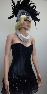 Black Showgirl Burlesque Costume for Hire