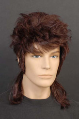 Brown 70's or 80's Mullet Wig