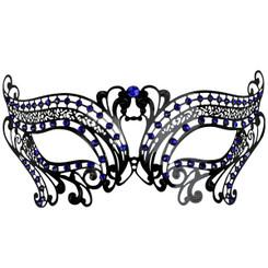 Black Metal Filigree Mask with blue jewels