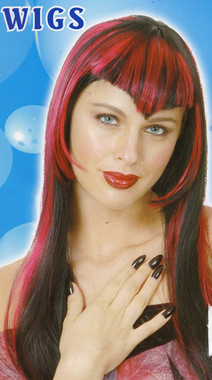 Black and Red Streaked Vampire Wig