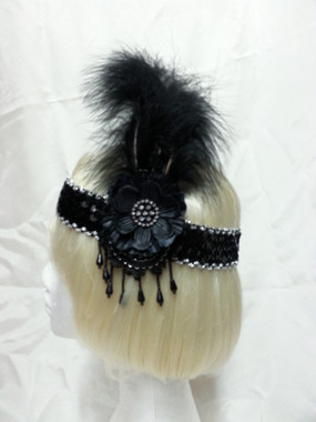 Jewelled 1920's flapper headdress, black and silver - The Littlest Costume Shop, Melbourne