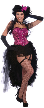 Burlesque Corset Costume - Pink and Black