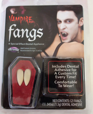 Budget Vampire Fangs in Coffin Shaped Box - With reusable dental adhesive (and free vial of blood)