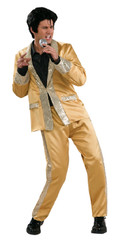 Gold Elvis suit with wig for hire