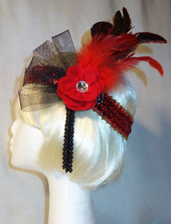 Red and black feathered 1920's headdress