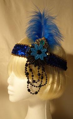 Blue jewelled 1920's headdress