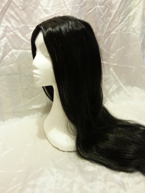 Long Black Wig - Morticia, Goth,