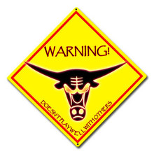"Bad Bull Warning Sign 12"" x 12"" High Gloss UV Aluminum"