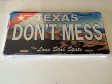 "High Gloss Embossed Aluminum  License Plates TX "" DON'T MESS "" LOT of 100PCS"