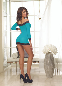 LONG SLEEVED TUNIC & THONG TURQUOISE/BLACK O/S