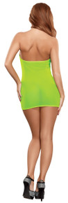MESH TUBE DRESS & G-STRING SET LIME O/S (NEON)