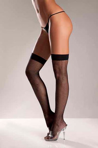 BLACK FISHNET THIGH HIGHS WITH BACK SEAM