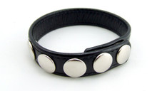 H2H COCK RING LEATHER 5 SNAPS BLACK