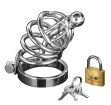 MASTER SERIES 4 RING CHASTITY CAGE W/URETHAL PLUG SM/M