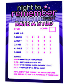 NIGHT TO REMEMBER STUD RATING CARD