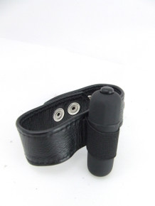 H2H COCK RING LEATHER W/3 SPD BULLET BLACK