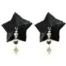 BIJOUX NIPPLE COVERS SEQUIN STAR W/FACETED BEADS