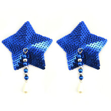 BIJOUX NIPPLE COVERS SEQUIN STAR W/BEADS BLUE