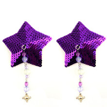 BIJOUX NIPPLE COVERS SEQUIN STAR W/BEADS PEWTER CHARM