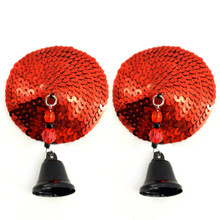 BIJOUX NIPPLE COVERS SEQUIN ROUND W/BELLS RED