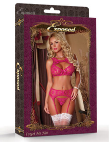 BRA GARTER & G STRING LARGE RASPBERRY