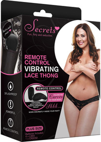 LACE THONG VIBRATING W/REMOTE BLACK PLUS SIZE