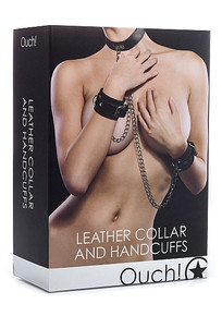 LEATHER COLLAR & HANDCUFFS BLACK