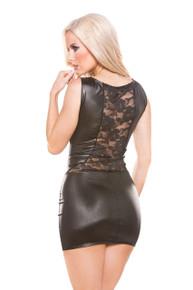 KITTEN LACE & WET LOOK DRESS O/S