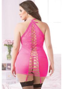 FISHNET & LACE CHEMISE & THONG HOT PINK QUEEN SIZE