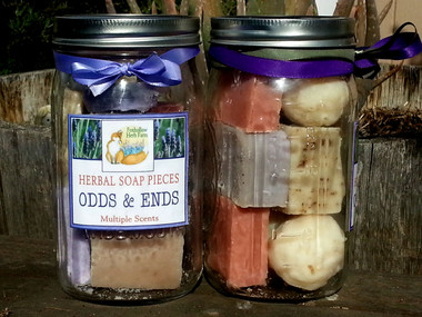 A Quart Sized Mason jar filled with the odds and ends of our soap bars.  Each jar contains approximately 10 - 12 pieces of a variety of our soaps. Very popular gift at our Farmer's Markets.