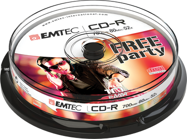 EMTEC CD-R: Free Party - CD Disc Recordable 700MB 52x Cake Case (10 Pack)