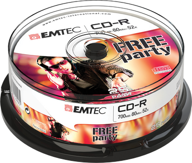 EMTEC CD-R: Free Party - CD Disc Recordable 700MB 52x Cake Case (25 Pack)