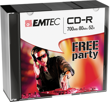EMTEC CD-R: Free Party - CD Disc Recordable 700MB 52x Slim Case 10-pack