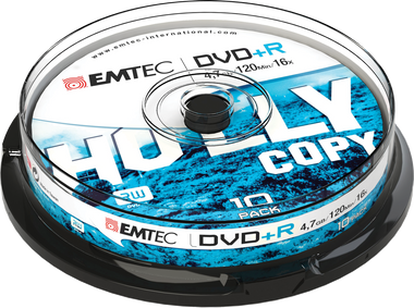 Emtec DVD +R Disc Recordable 4.7GB 16x Cake Case (10 Pack)