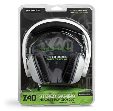 Plantronics X40 GameCom XBox 360 Corded Stereo Headset - White