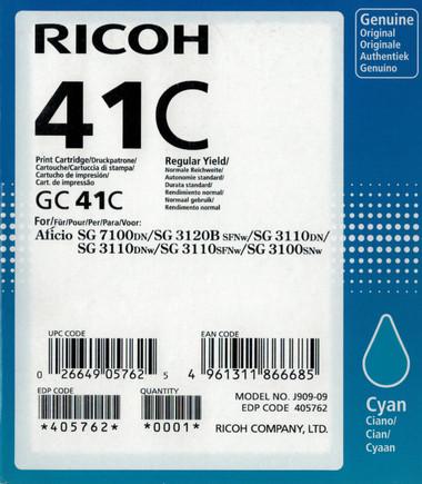 Ricoh 41C Gel Ink - Standard Capacity - Cyan (2400 Page)