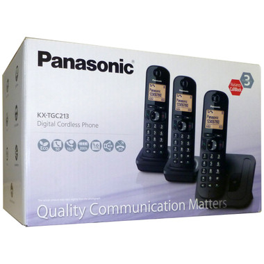 Panasonic KX-TGC213 Digital Cordless Phone - Black (Pack of 3)