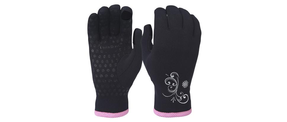 TrailHeads Power Stretch Women's Running Gloves - black / fast pink