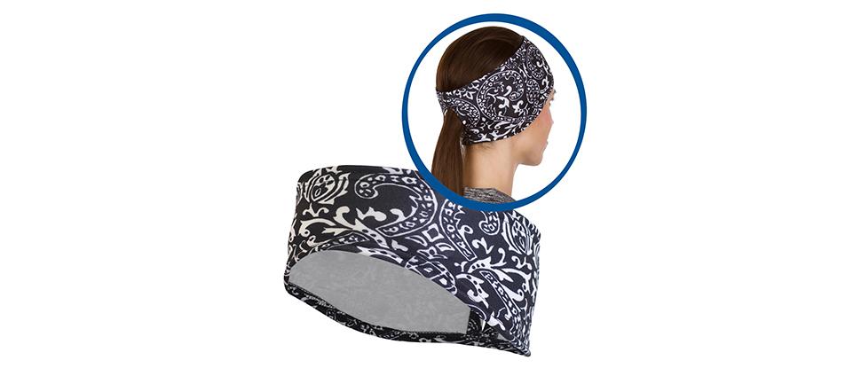 Women's Print Ponytail Headband - black & white