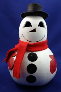 The snowman has a light that shines through his face, buttons, and mittens.
