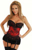Black and Red Corset with Detachable Garters