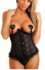 Black Lace Waist Cincher with matching G-String