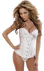 White Corset with floral design available in Queen Sizes