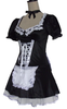 French Maid Lady Costume, White Opaque Stockings,  Black Ruffled Panties